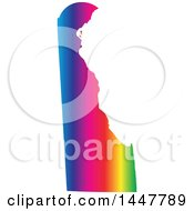 Clipart Of A Gradient Rainbow Map Of Delaware United States Of America Royalty Free Vector Illustration by Jamers