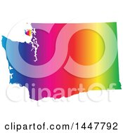Clipart Of A Gradient Rainbow Map Of Washington United States Of America Royalty Free Vector Illustration by Jamers