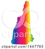 Poster, Art Print Of Gradient Rainbow Map Of New Hampshire United States Of America