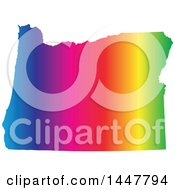 Clipart Of A Gradient Rainbow Map Of Oregon United States Of America Royalty Free Vector Illustration by Jamers