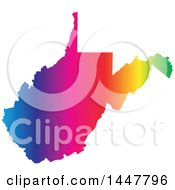 Clipart Of A Gradient Rainbow Map Of West Virginia United States Of America Royalty Free Vector Illustration