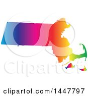 Poster, Art Print Of Gradient Rainbow Map Of Massachusetts United States Of America