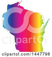 Clipart Of A Gradient Rainbow Map Of Wisconsin United States Of America Royalty Free Vector Illustration