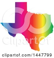 Clipart Of A Gradient Rainbow Map Of Texas United States Of America Royalty Free Vector Illustration