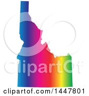 Clipart Of A Gradient Rainbow Map Of Idaho United States Of America Royalty Free Vector Illustration by Jamers