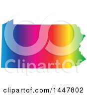 Poster, Art Print Of Gradient Rainbow Map Of Pennsylvania United States Of America
