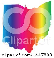 Clipart Of A Gradient Rainbow Map Of Ohio United States Of America Royalty Free Vector Illustration