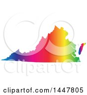 Poster, Art Print Of Gradient Rainbow Map Of Virginia United States Of America
