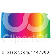 Poster, Art Print Of Gradient Rainbow Map Of Kansas United States Of America