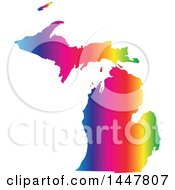 Clipart Of A Gradient Rainbow Map Of Michigan United States Of America Royalty Free Vector Illustration