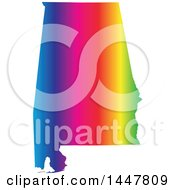 Clipart Of A Gradient Rainbow Map Of Alabama United States Of America Royalty Free Vector Illustration