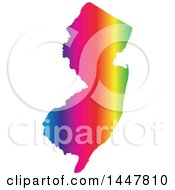 Poster, Art Print Of Gradient Rainbow Map Of New Jersey United States Of America