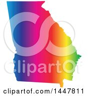 Clipart Of A Gradient Rainbow Map Of Georgia United States Of America Royalty Free Vector Illustration by Jamers