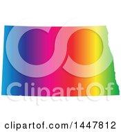 Poster, Art Print Of Gradient Rainbow Map Of North Dakota United States Of America