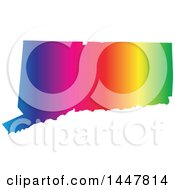 Clipart Of A Gradient Rainbow Map Of Connecticut United States Of America Royalty Free Vector Illustration by Jamers