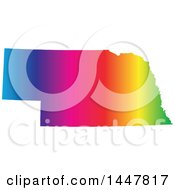 Clipart Of A Gradient Rainbow Map Of Nebraska United States Of America Royalty Free Vector Illustration