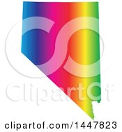 Clipart Of A Gradient Rainbow Map Of Nevada United States Of America Royalty Free Vector Illustration