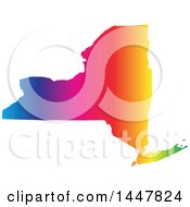 Clipart Of A Gradient Rainbow Map Of New York United States Of America Royalty Free Vector Illustration