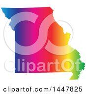 Clipart Of A Gradient Rainbow Map Of Missouri United States Of America Royalty Free Vector Illustration