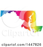Poster, Art Print Of Gradient Rainbow Map Of Maryland United States Of America