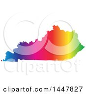 Poster, Art Print Of Gradient Rainbow Map Of Kentucky United States Of America