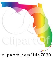 Poster, Art Print Of Gradient Rainbow Map Of Florida United States Of America