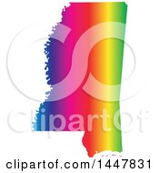 Poster, Art Print Of Gradient Rainbow Map Of Mississippi United States Of America