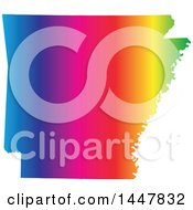 Clipart Of A Gradient Rainbow Map Of Arkansas United States Of America Royalty Free Vector Illustration
