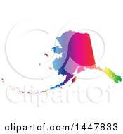 Clipart Of A Gradient Rainbow Map Of Alaska United States Of America Royalty Free Vector Illustration