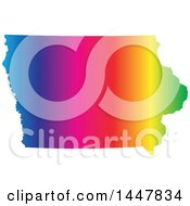 Clipart Of A Gradient Rainbow Map Of Iowa United States Of America Royalty Free Vector Illustration
