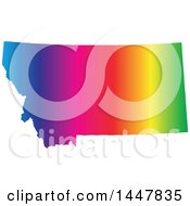 Poster, Art Print Of Gradient Rainbow Map Of Montana United States Of America