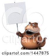3d Tommy Tyrannosaurus Rex Dinosaur Mascot Holding A Blank Sign On A White Background