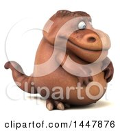 3d Tommy Tyrannosaurus Rex Dinosaur Mascot Facing Right On A White Background