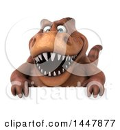 Clipart Of A 3d Tommy Tyrannosaurus Rex Dinosaur Mascot Over A Sign On A White Background Royalty Free Illustration