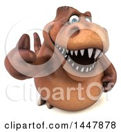 Clipart Of A 3d Tommy Tyrannosaurus Rex Dinosaur Mascot Holding Up A Thumb On A White Background Royalty Free Illustration by Julos