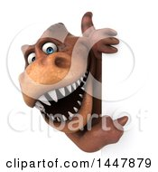Clipart Of A 3d Tommy Tyrannosaurus Rex Dinosaur Mascot Pointing Around A Sign On A White Background Royalty Free Illustration by Julos