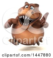 Clipart Of A 3d Tommy Tyrannosaurus Rex Dinosaur Mascot Running On A White Background Royalty Free Illustration