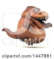Poster, Art Print Of 3d Tommy Tyrannosaurus Rex Dinosaur Mascot Running On A White Background