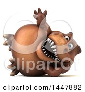 Clipart Of A 3d Tommy Tyrannosaurus Rex Dinosaur Mascot Resting On His Side And Waving On A White Background Royalty Free Illustration