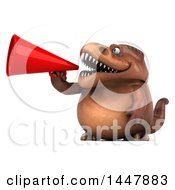 Poster, Art Print Of 3d Tommy Tyrannosaurus Rex Dinosaur Mascot Announcing With A Megaphone On A White Background
