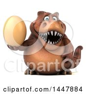 Poster, Art Print Of 3d Tommy Tyrannosaurus Rex Dinosaur Mascot Holding An Egg On A White Background