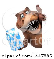 3d Tommy Tyrannosaurus Rex Dinosaur Mascot Holding A Milk Carton Around A Sign On A White Background