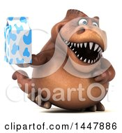 Clipart Of A 3d Tommy Tyrannosaurus Rex Dinosaur Mascot Walking And Holding A Milk Carton On A White Background Royalty Free Illustration