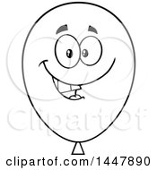 Cartoon Happy Black And White Lineart Party Balloon Mascot