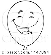 Cartoon Laughing Black And White Lineart Party Balloon Mascot