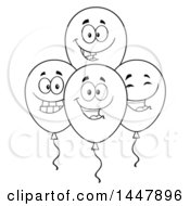 Cartoon Black And White Lineart Group Of Happy Party Balloon Mascots