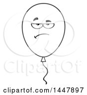 Cartoon Black And White Lineart Annoyed Party Balloon Character