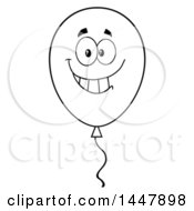 Poster, Art Print Of Cartoon Black And White Lineart Smiling Party Balloon Character