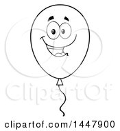 Cartoon Black And White Lineart Party Balloon Character