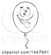 Cartoon Black And White Lineart Goofy Party Balloon Character